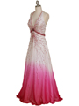 5541 White/Fuschia Bead Silk Gown - White Fuschia, Alt View Thumbnail