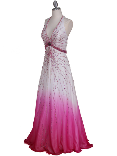 5541 White/Fuschia Bead Silk Gown - White Fuschia, Alt View Medium