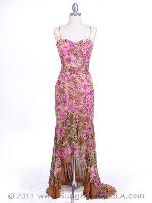 5557 Pink Beaded Silk Dress, Pink