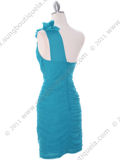 5567 Teal Chiffon Ruched Cocktail Dress - Teal, Back View Medium