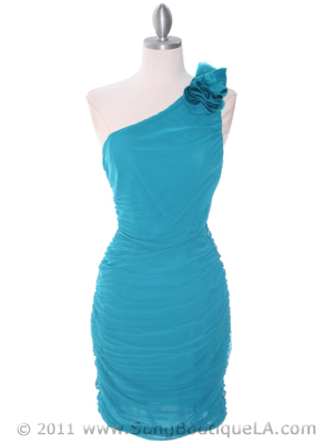 Teal Chiffon Ruched Cocktail Dress - Front Image