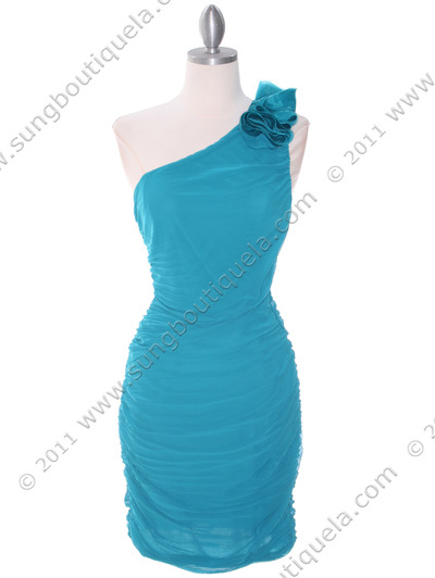 5567 Teal Chiffon Ruched Cocktail Dress - Teal, Front View Medium