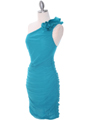 Teal Chiffon Ruched Cocktail Dress - Alt Image
