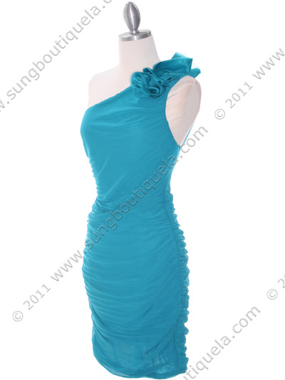 5567 Teal Chiffon Ruched Cocktail Dress - Teal, Alt View Medium