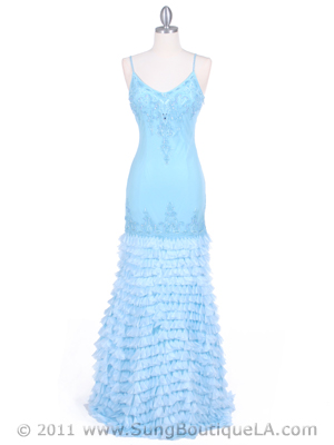 5569 Baby Blue Silk Beaded Evening Gown, Baby Blue