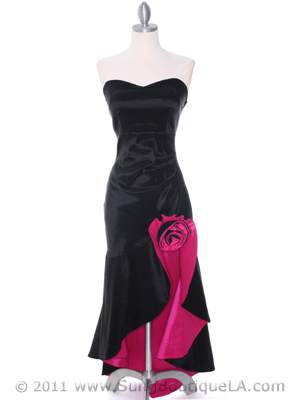 5633 Black Fuschia Taffeta Evening Dress, Black Fuschia