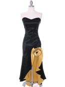 Black Yellow Taffeta Evening Dress