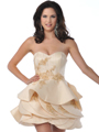 5810 Champagne Strapless Cocktail Dress with Beads and Sequins - Champagne, Front View Thumbnail