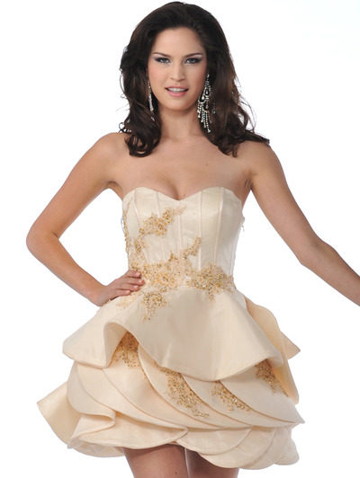 5810 Champagne Strapless Cocktail Dress with Beads and Sequins - Champagne, Front View Medium