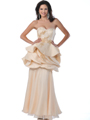 5810 Champagne Strapless Cocktail Dress with Beads and Sequins - Champagne, Alt View Thumbnail