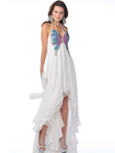 Off White Butterfly Style Prom Dress with High Low Hem