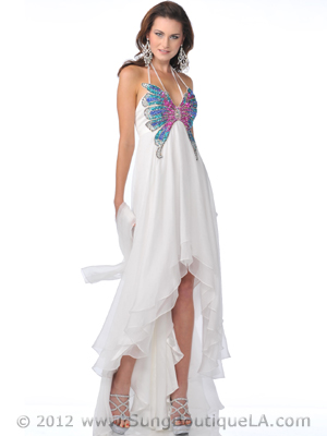 5816 Off White Butterfly Style Prom Dress with High Low Hem, Off White