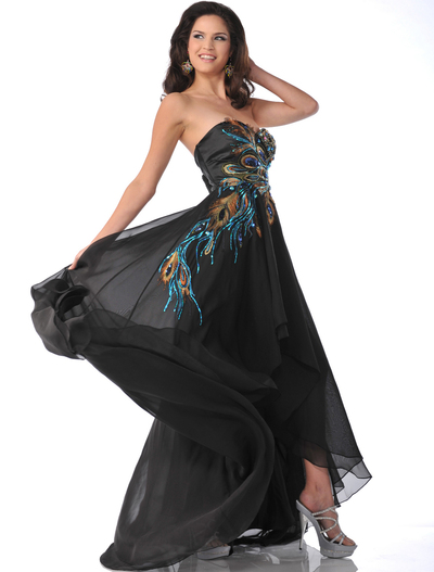 5846 Black Chiffon Peacock Embellished Evening Dress - Black, Front View Medium