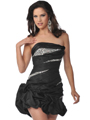 5858 Strapless Beads and Sequins Cocktail Dress with Pick-Up Hem - Black, Front View Thumbnail