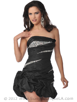 5858 Strapless Beads and Sequins Cocktail Dress with Pick-Up Hem, Black