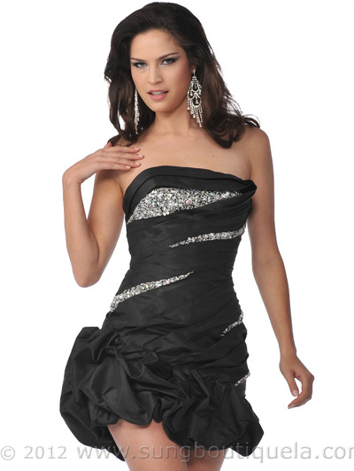 5858 Strapless Beads and Sequins Cocktail Dress with Pick-Up Hem - Black, Front View Medium