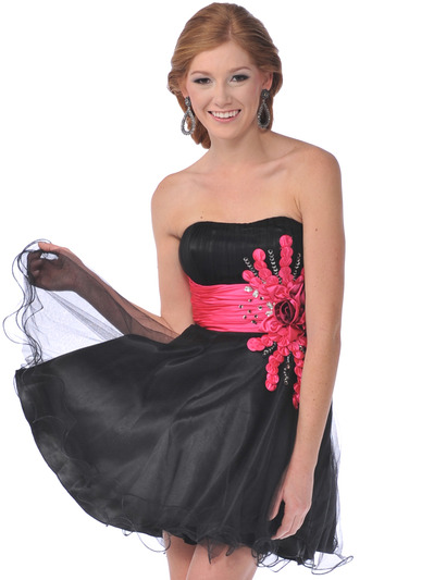 5859 Sweetheart Net Overlay Short Prom Dress - Black Fuschia, Front View Medium