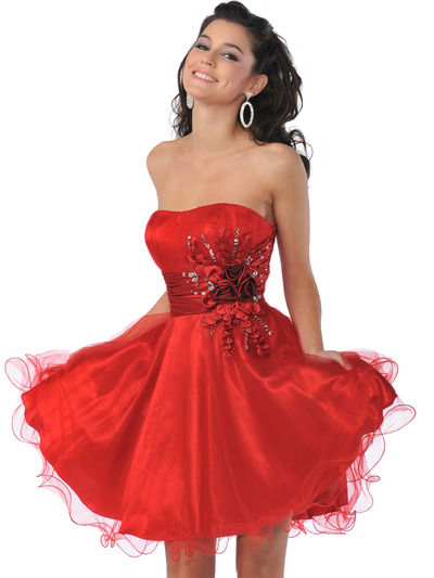 5859 Sweetheart Net Overlay Short Prom Dress - Red, Front View Medium