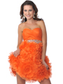 Orange Short Strapless Sweetheart Prom Dress