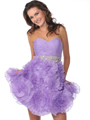 Purple Short Strapless Sweetheart Prom Dress - Front Image