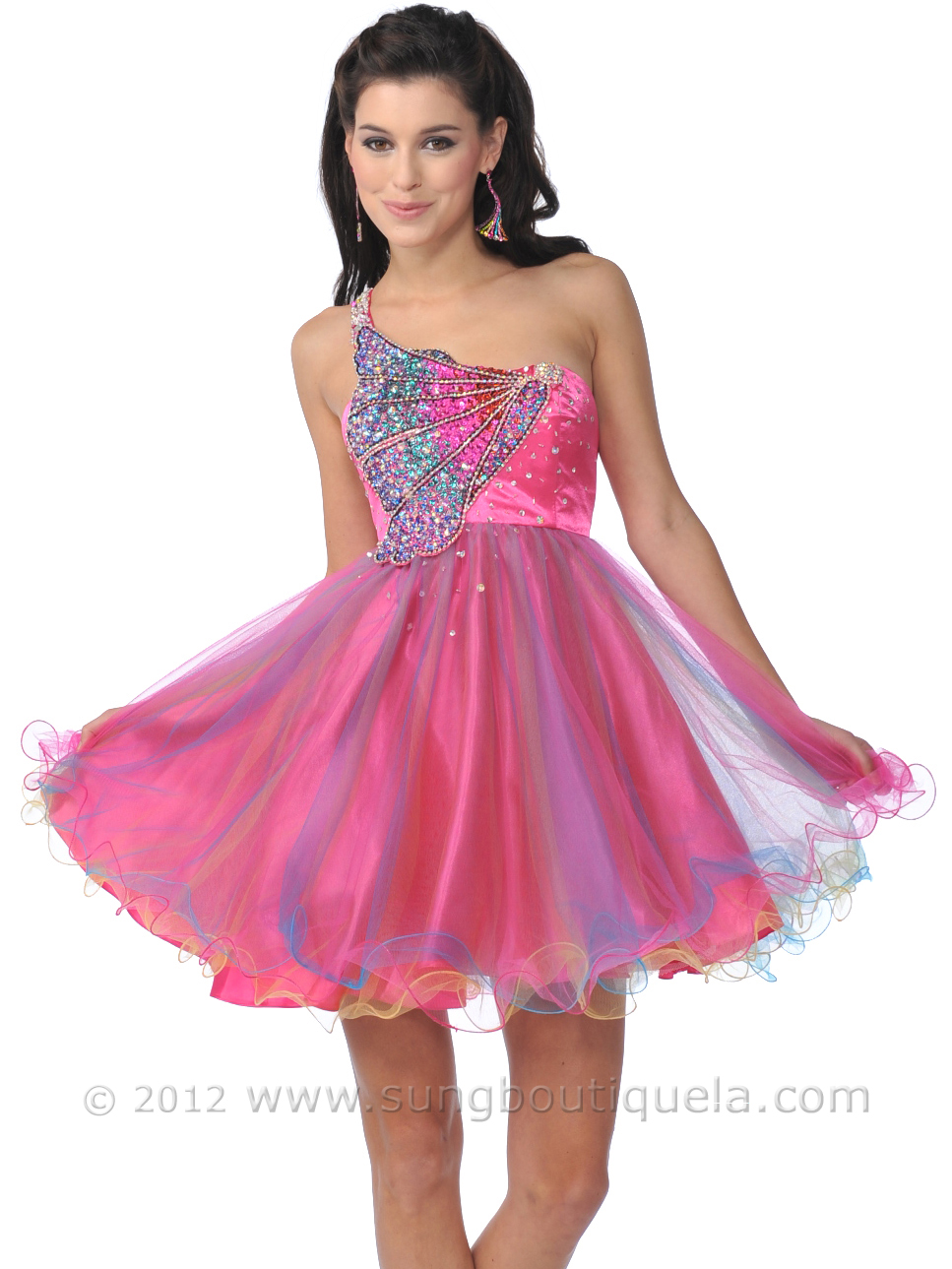 Hot Pink One Shoulder Butterfly Sequin Short Prom Dress | Sung ...
