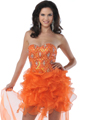 5876 Strapless Beaded Organza Ruffle Short Prom Dress - Orange, Front View Thumbnail