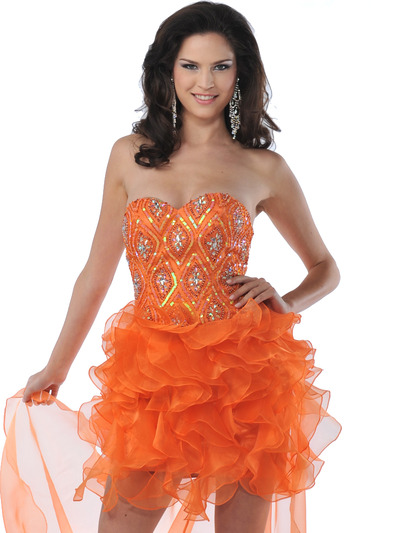 5876 Strapless Beaded Organza Ruffle Short Prom Dress - Orange, Front View Medium