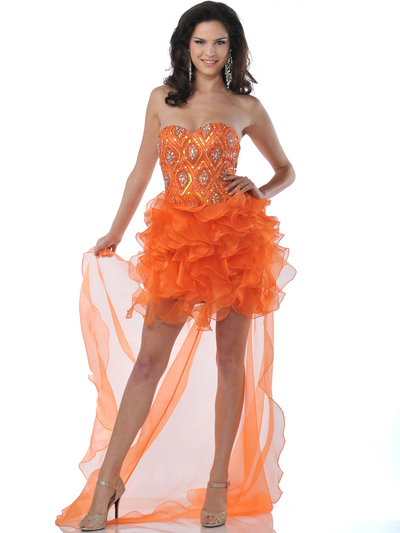 5876 Strapless Beaded Organza Ruffle Short Prom Dress - Orange, Alt View Medium