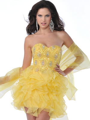 5876 Strapless Beaded Organza Ruffle Short Prom Dress, Yellow