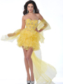 5876 Strapless Beaded Organza Ruffle Short Prom Dress - Yellow, Alt View Thumbnail