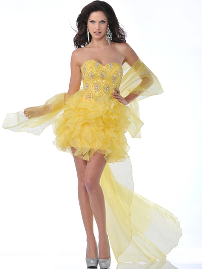 5876 Strapless Beaded Organza Ruffle Short Prom Dress - Yellow, Alt View Medium