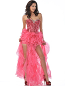 Sequin Corset Top Prom Dress with Ruffle Hem