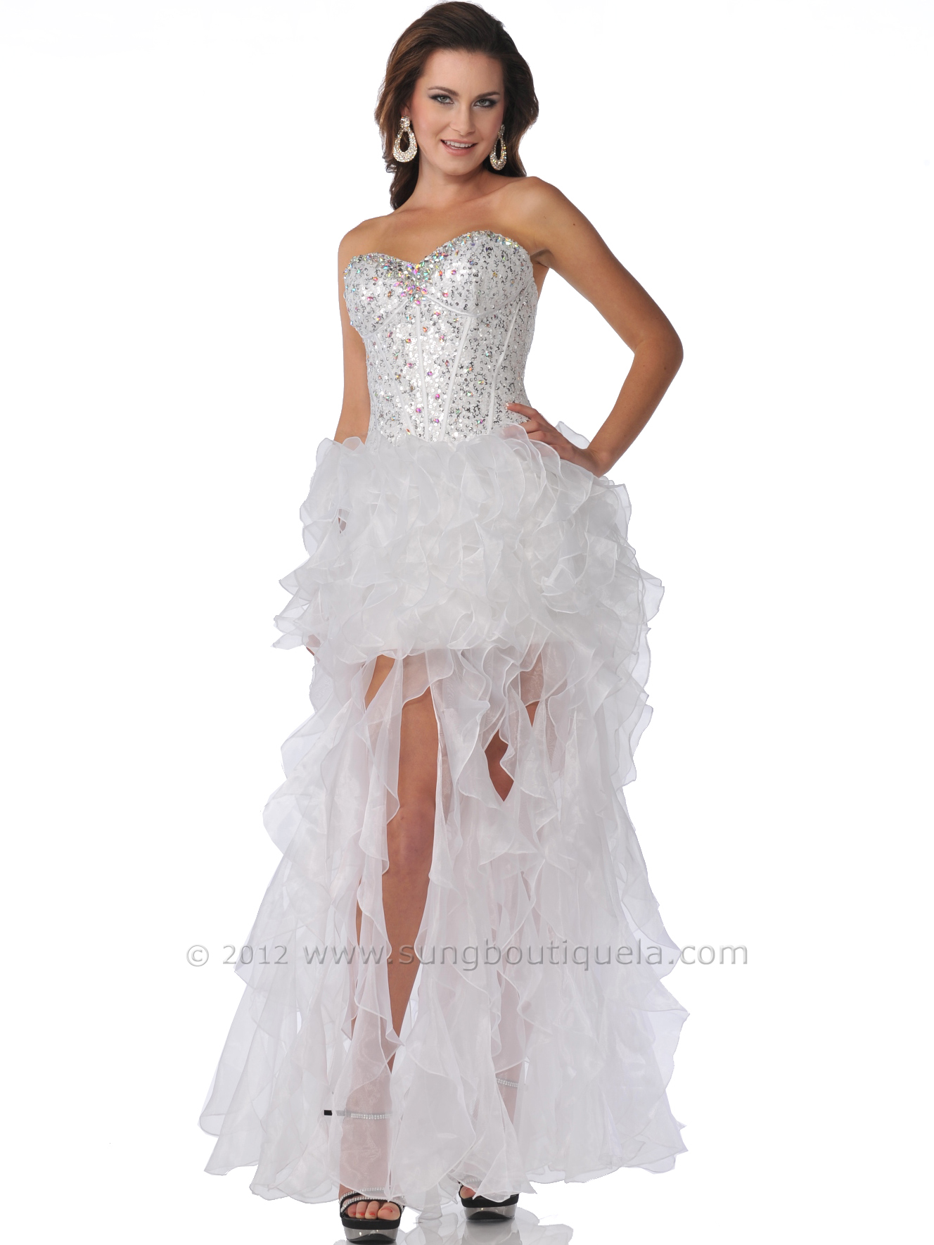 White Sequin Prom Dresses