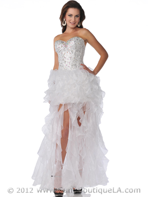 5878 Sequin Corset Top Prom Dress with Ruffle Hem, White