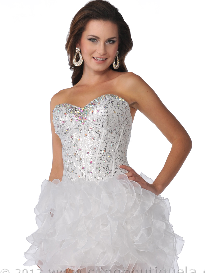 Sequin Corset Top Prom Dress with Ruffle Hem | Sung ...