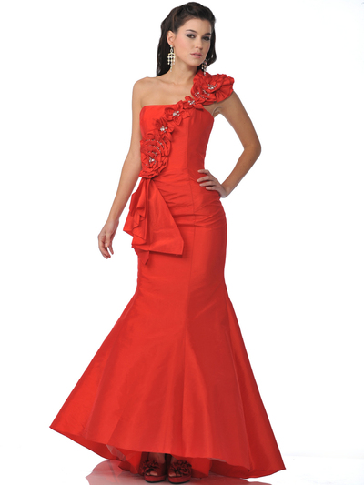 5881 Red One Shoulder Mermaid Prom Dress - Red, Front View Medium