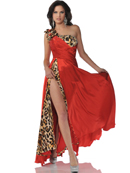 5896 Red Leopard One Shoulder Animal Print Prom Dress with Slit, Red Leopard