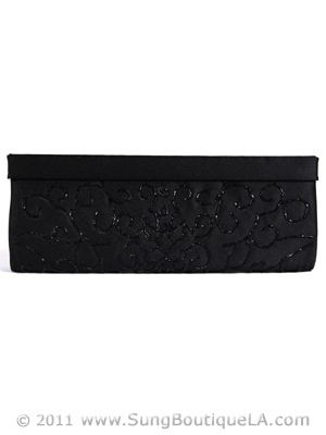 6130 Black Evening Bag with Beads, Black