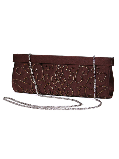 6130 Brown Evening Bag with Beads - Brown, Alt View Medium