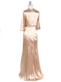 6249 Gold Charmeuse Evening Dress with Bolero Jacket - Gold, Back View Thumbnail