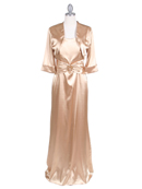 Gold Charmeuse Evening Dress with Bolero Jacket