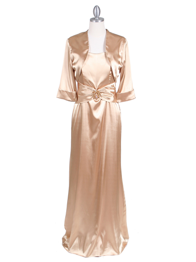 6249 Gold Charmeuse Evening Dress with Bolero Jacket - Gold, Front View Medium