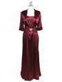 6249 Wine Charmeuse Evening Dress with Bolero Jacket