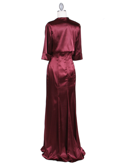 6249 Wine Charmeuse Evening Dress with Bolero Jacket - Wine, Back View Medium