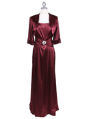 6249 Wine Charmeuse Evening Dress with Bolero Jacket, Wine
