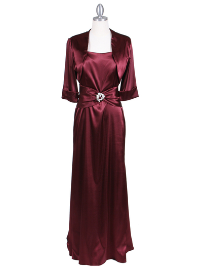 6249 Wine Charmeuse Evening Dress with Bolero Jacket - Wine, Front View Medium