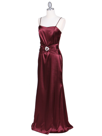 6249 Wine Charmeuse Evening Dress with Bolero Jacket - Wine, Alt View Medium