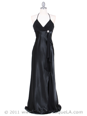 6255 Black Evening Dress with Rhinestone Buckle, Black