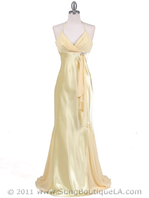 6255 Yellow Evening Dress with Rhinestone Buckle, Yellow