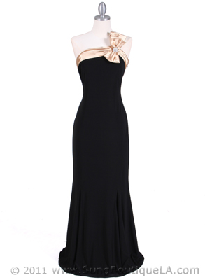 6263 Black Gold One Shoulder Evening Dress, Black Gold